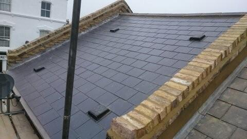 Image 1 - London Marley Thrutone immitation slate roof and yellow stock parapetwall renewal.