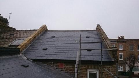 Image 2 - London Marley Thrutone immitation slate roof and yellow stock parapetwall renewal.