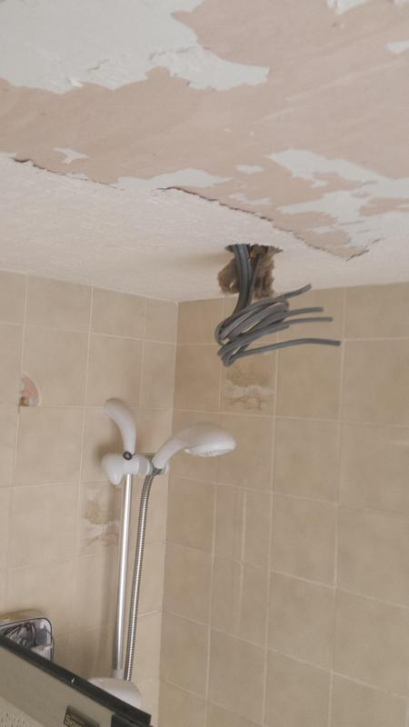 Image 3 - Ceiling in bathroom getting prepared for spot lights