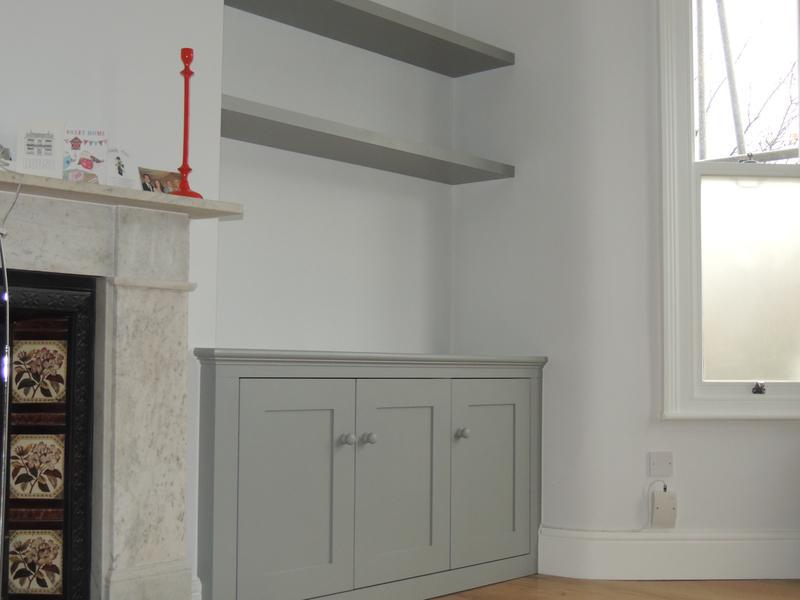 Image 2 - 3 door period style cupboard & shelving finished in Farrow & Ball grey.