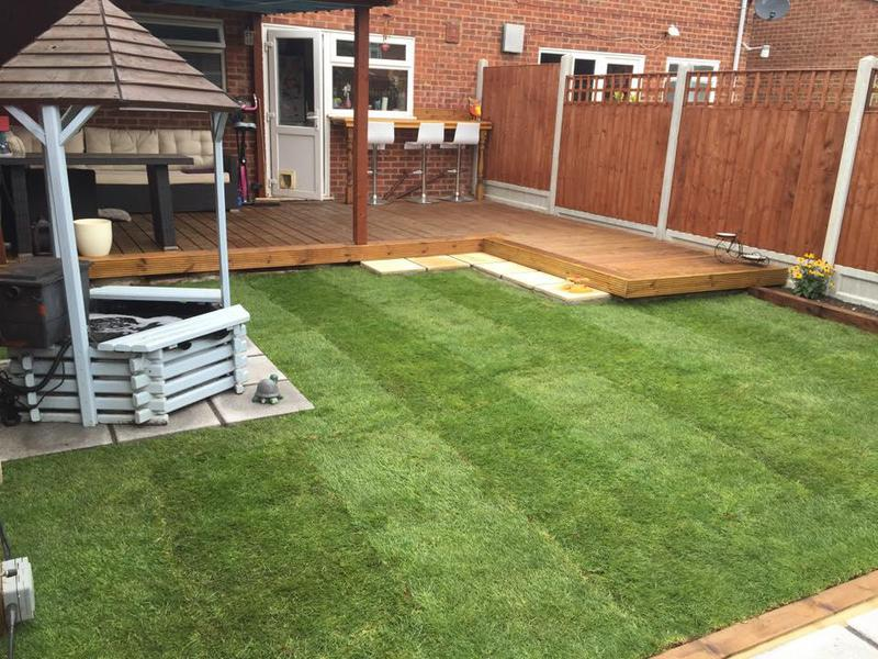 Image 33 - Decking, lovely timber leanto, Breakfast bar, paving and then re-turfed the lawn