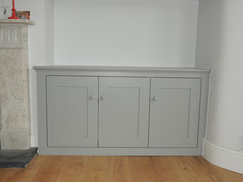 Image 3 - 3 door period style cupboard finished in Farrow & Ball grey.