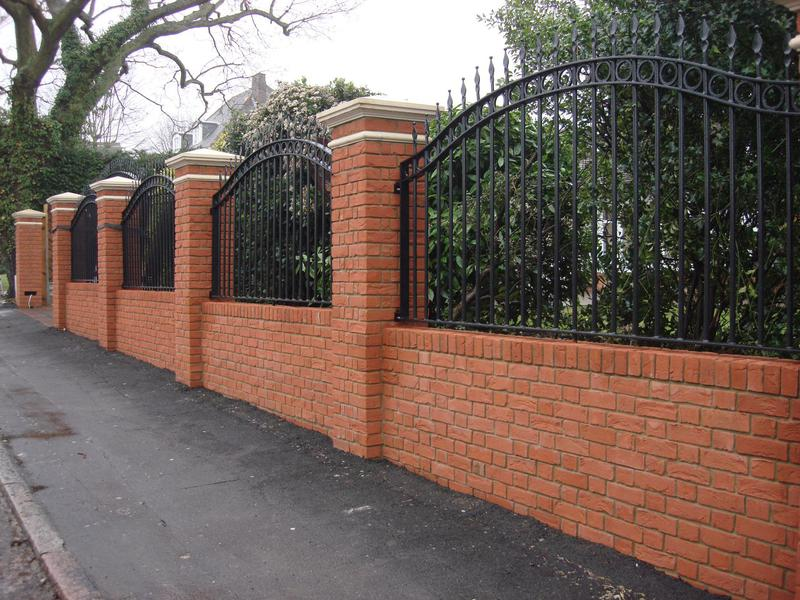 Image 1 - New boundary red brick wall with stone pier capping , Iron work & electric gates Manor road Chigwell