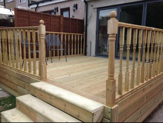 Image 37 - Lovely raised decking with decorative spindles.