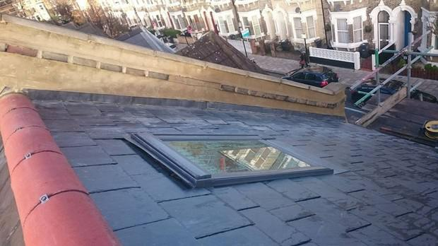 Image 11 - London Natural spanish slate and parapet wall render and coping stone renewal.