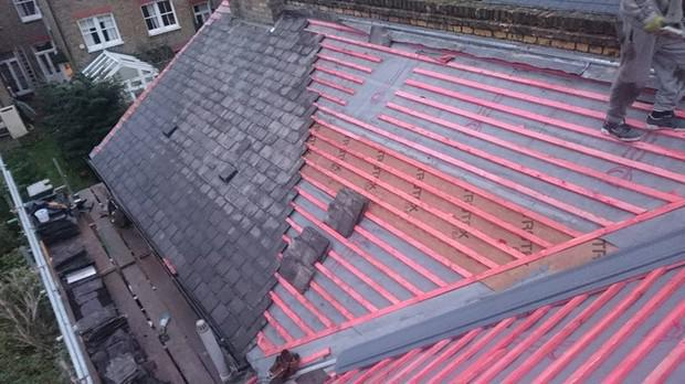 Image 14 - Dulwich felt and batten renewal existing slates.