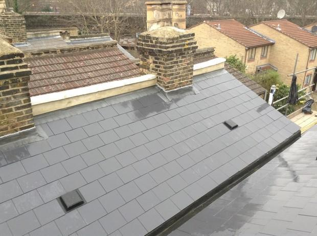 Image 25 - Brockley Marley Eternit thrutone immitaion slate and parapetwall render and coping stone renewal.