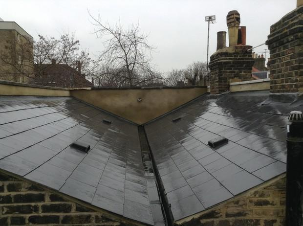 Image 26 - Brockley Marley Eternit thrutone immitaion slate and parapetwall render and coping stone renewal.
