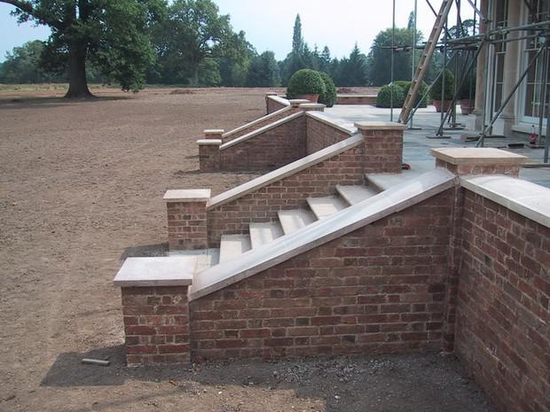 Image 46 - Reclaimed brick steps, with new Limestone coping and step treads
