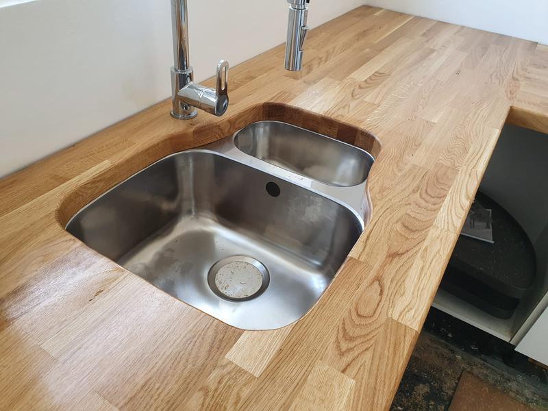 Image 7 - Soild oak worktop with undermount sink installation