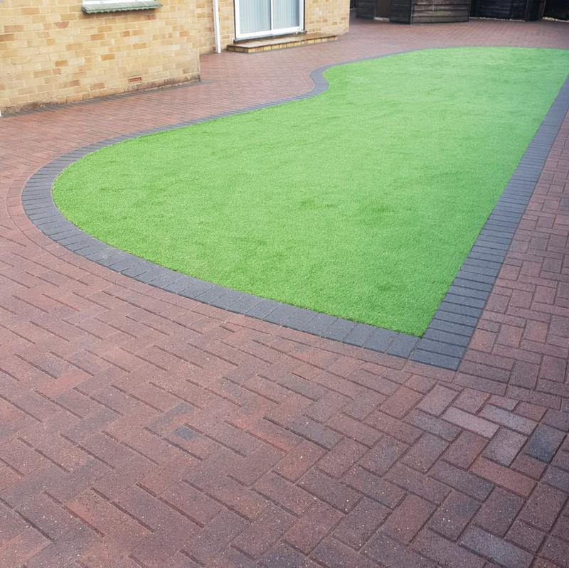 Image 3 - Block paving patio with artificial grass in Farnborough
