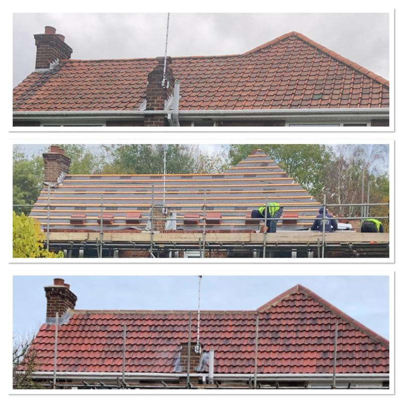 Image 13 - Before & after of a roof replacement using farmhouse double pan tiles.