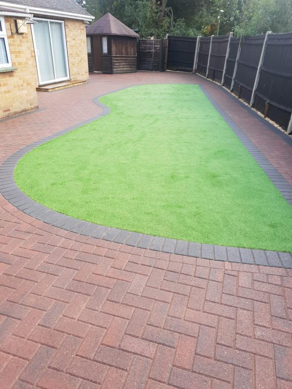 Image 5 - Block paving patio with artificial grass in Farnborough