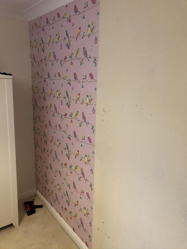 Image 1 - A feature wall paper hung.
