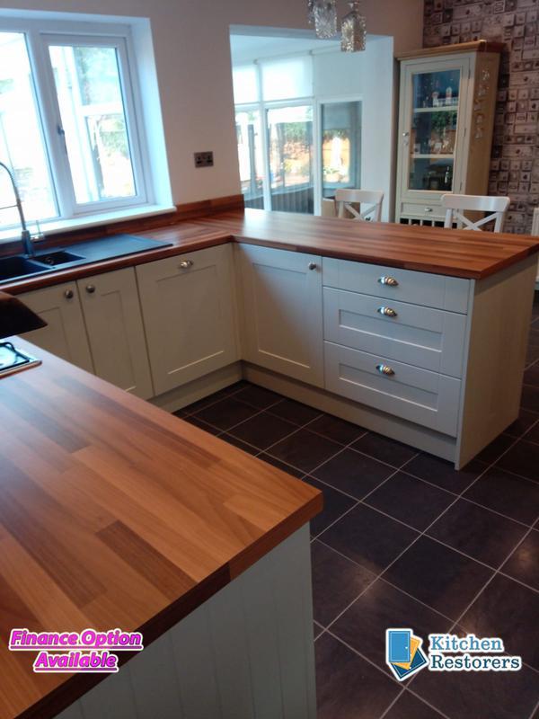 Image 24 - Kitchen Refurb (New Doors/End Panels + Worktops)   Doors: Painted Oak Mussel Vinyl Shaker  Worktop: Walnut Butcher Block Laminate