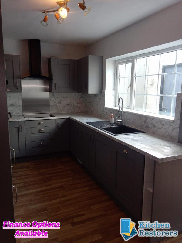 Image 15 - Traditional Kitchen Fitted as a refurb (New Doors, Worktops/Splashback but keeping the majority of the old units)Door Colour: Dust Grey Shaker VinylWorktop/Splashback: Laminate Calacatta Marble