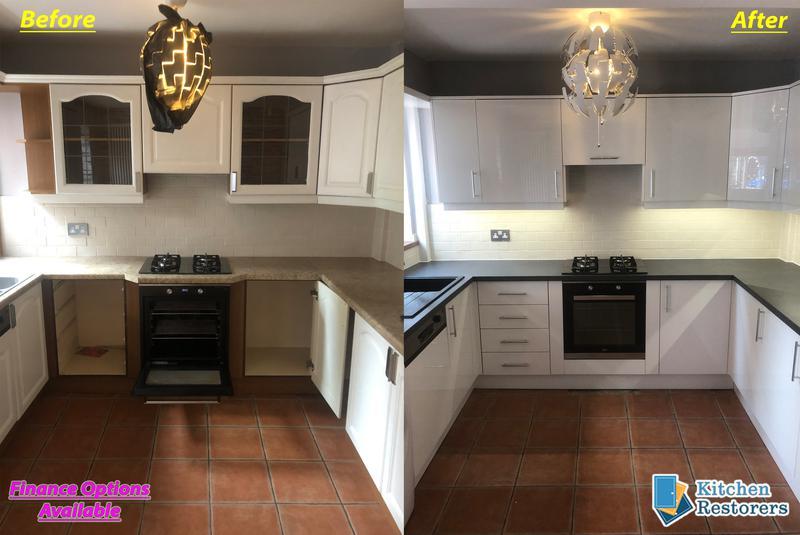 Image 9 - Kitchen Rubishment fitted (New Doors/Worktops)Doors: Acrylic High Gloss WhiteWorktops: Laminate