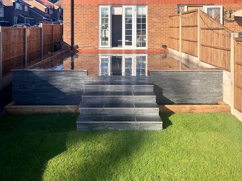 Image 22 - Marshalls Arrento steps with Drystack Veneer walling in black