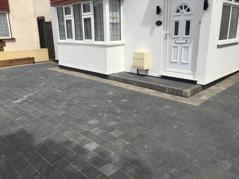 Image 11 - Double block paved driveway using Marshalls Drivesett Savanna in charcoal with a pennant grey border