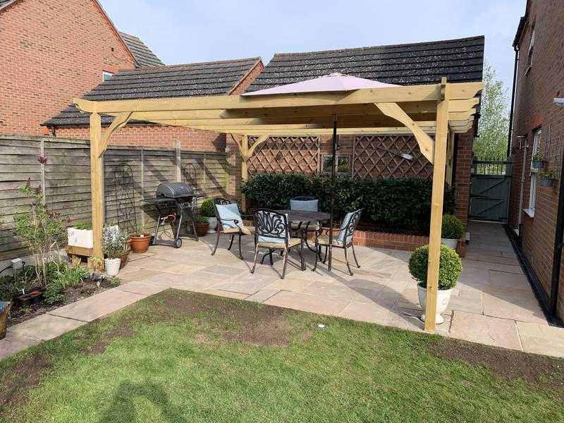 Image 37 - Raj blend natural sandstone patio with wooden pagoda