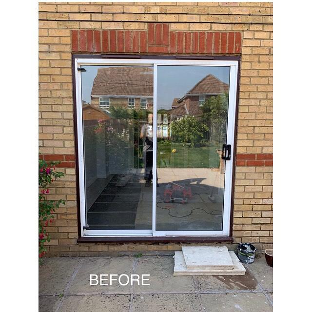 Image 4 - Before.  Our customer wanted to replace these old French doors