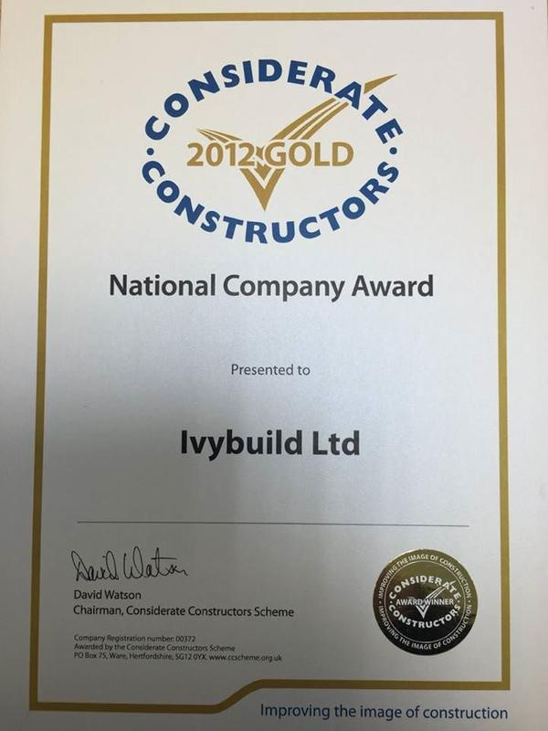 Image 1 - Considerate Constractors Gold Award