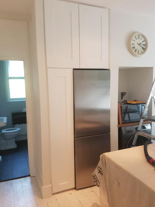 Image 21 - Bespoke kitchen fridge tower unit to fit into alcove openings. To match existing kitchen.