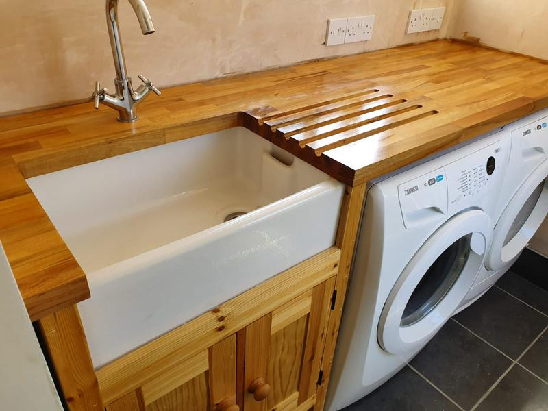 Image 9 - Soild oak worktop with Belfast sink installation