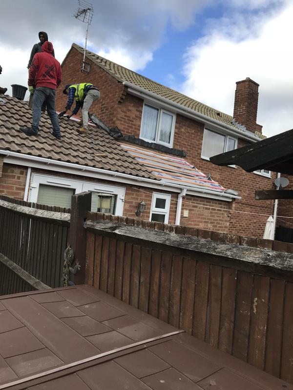 Image 51 - New felt and battan replaced re-tiling and ridge tiles and apex pointed back in possition.