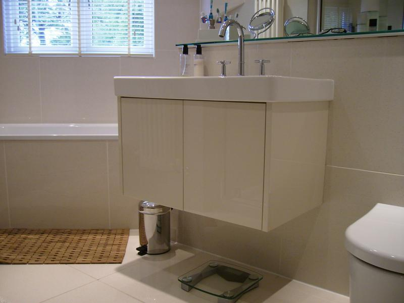 Image 49 - Bespoke Floating vanity to sit below an existing sink. Polyester spray finished to customers choice .