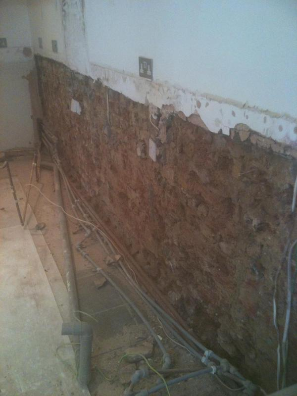 Image 2 - Removal of infected plaster,in preparation for damp proofing.