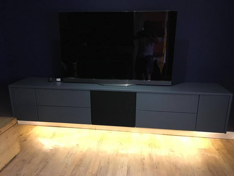 Image 33 - Bespoke floating media cabinet. Spray finished to customers specification. Including soft close drawers .
