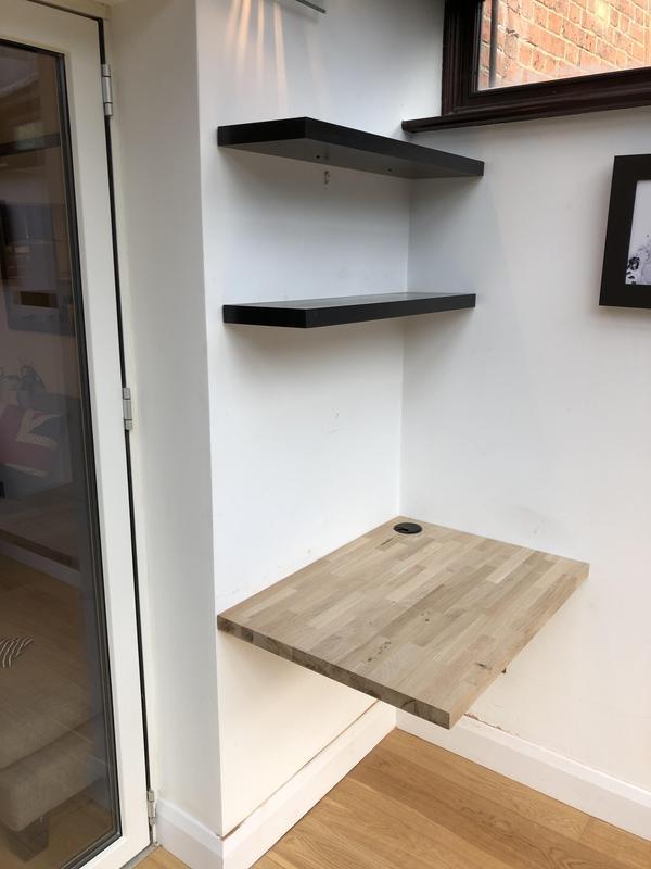 Image 6 - Floating office oak desk with floating shelves