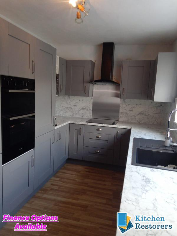 Image 16 - Traditional Kitchen Fitted as a refurb (New Doors, Worktops/Splashback but keeping the majority of the old units)Door Colour: Dust Grey Shaker VinylWorktop/Splashback: Laminate Calacatta Marble