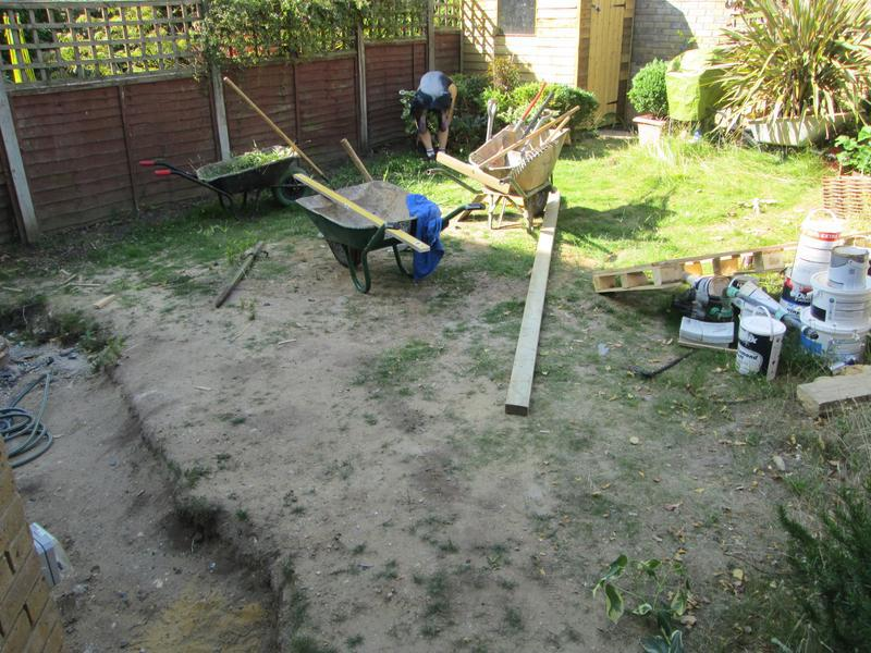 Image 3 - before new indian sandstone and turfing area
