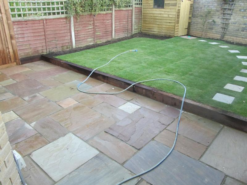 Image 4 - after indaian sandstone and turfing with sleeper wall