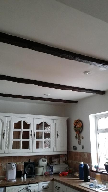 Image 41 - Original Oak beams restored before being varnished and ceiling painted