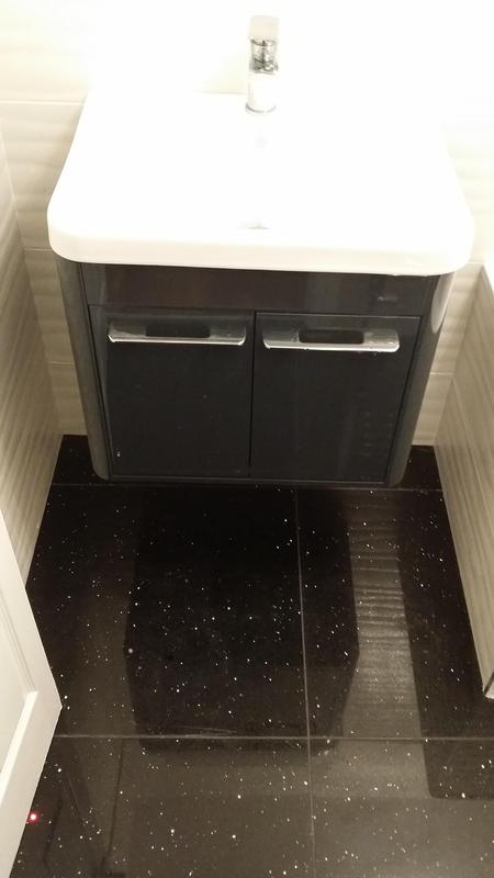 Image 45 - New hanging vanity unit with high gloss black galaxy floor tiles fitted