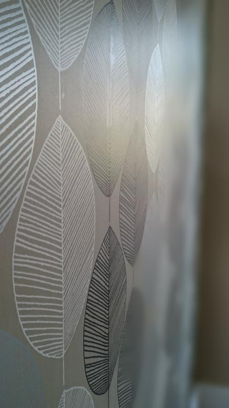 Image 48 - Opera Retro Leaf Wallpaper complimented by Dulux Khaki Mists 3.