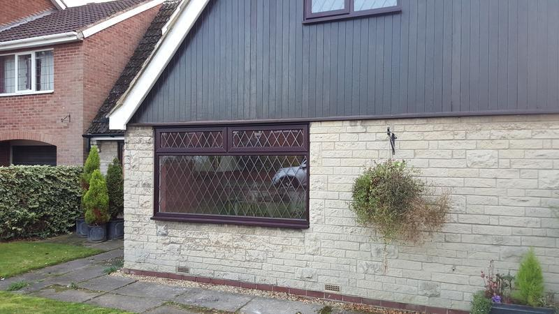 Image 26 - mahogany window with diamond lead installed in doncaster