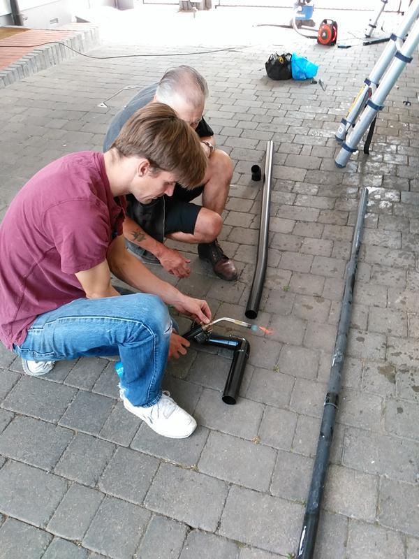 Image 2 - Stephen working with his dad, R J Nice Plumbing