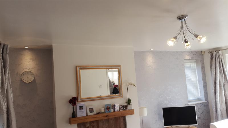 "Image 6 - ""jennys"" house renovation refound the cieling rose which was capped off behind the cieling and added in 3 feature spots to light up wall paper."