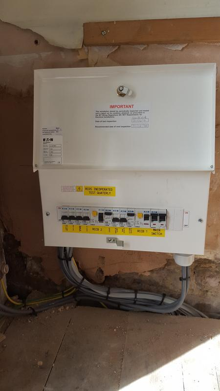 Image 7 - A rewire in Urmston Manchester finish off testing mainsboard complete and power on.