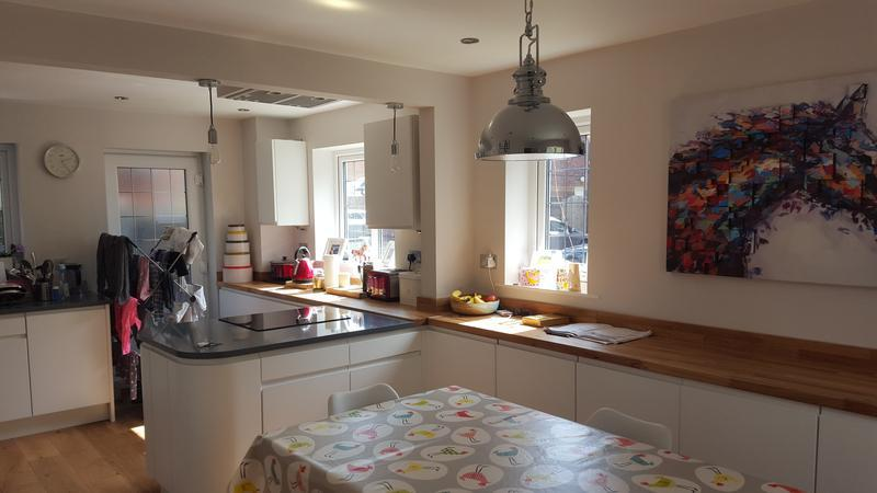 "Image 9 - ""craig's"" kitchen knock through to make a kitchen diner made to a lovely spec and finish complete with featutre lighting and bespoke extraction fan."