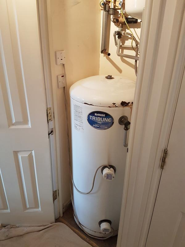 Image 26 - (Before) removing old unvented cylinder.