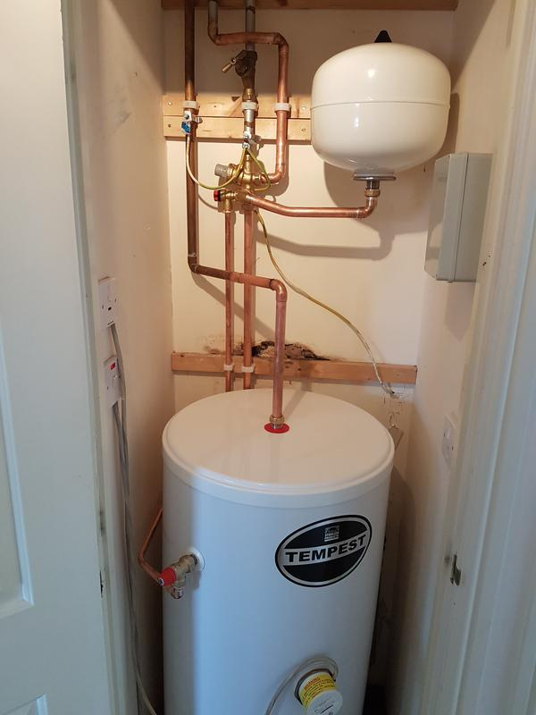 Image 28 - (After) new unvented cylinder fitted.