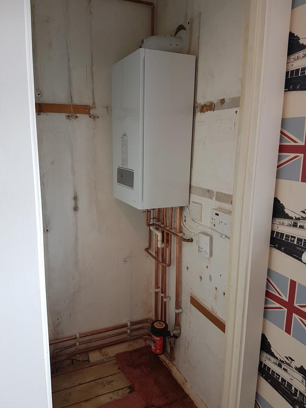 Image 31 - Hot water cylinder/ boiler removed from cupboard. Replaced with new combi boiler