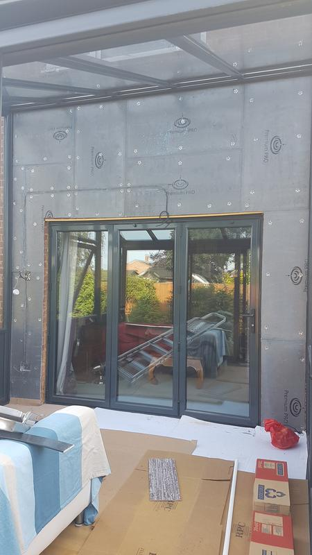 Image 26 - Conservatory wall prepared with jackoboard ready for tiling