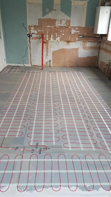 Image 24 - Insulation board fitted levelled and underfloor heating mat fitted