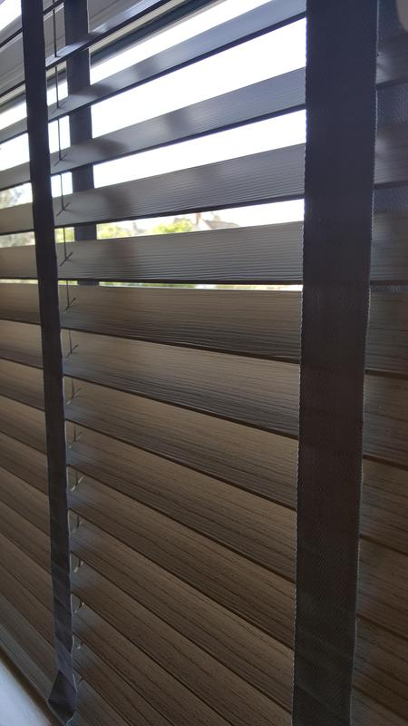 Image 33 - Faux Wood Venetians with matching tapes.